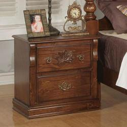 Ponderosa Traditional Two Drawer Nightstand with Carved Rosette