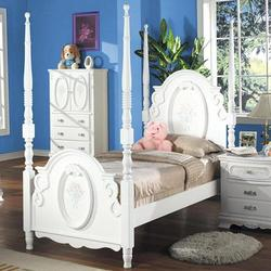 01660 Twin Poster Bed w/ Floral Painting