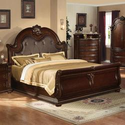 Anondale Traditional King Sleigh Bed W/Bonded Leather Headboard