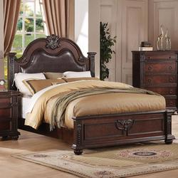 Daruka California King Size Bed with Upholstered Headboard and Traditional Wood Carving Details