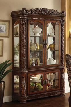 Vendome Curio Cabinet with Glass Doors and Mirrored Back