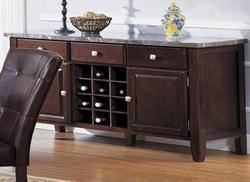 7058 Server with Black Marble Top and Wine Rack
