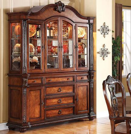 Acme furniture nathaneal hutch and buffet with serpentine top for Acme kitchen cabinets