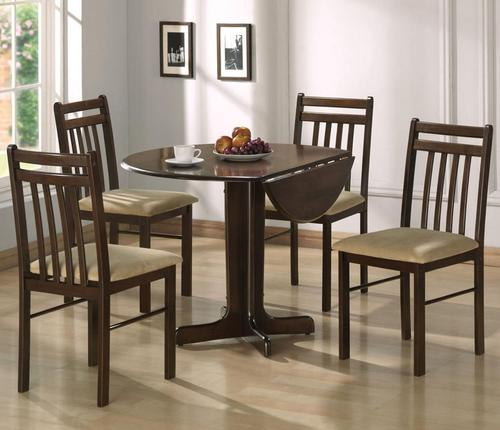 Silver Dining Table And Chairs, Acme Furniture Copenhagen Casual 5 Piece Dining Set With Drop Leaf Table