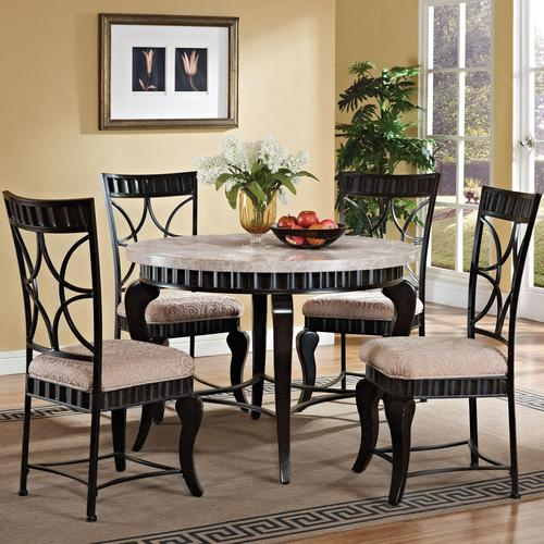 acme furniture lorencia transitional five piece round marble table and