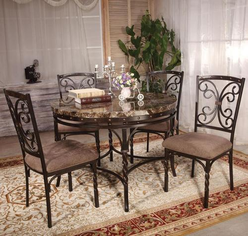 Burril 5 Piece Dining Set with Faux Marble Top & Acme Furniture Burril 5 Piece Dining Set with Faux Marble Top