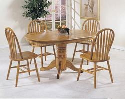 Nostalgia 5-Piece Casual Dining Pedestal Table and Windsor Dining Chairs