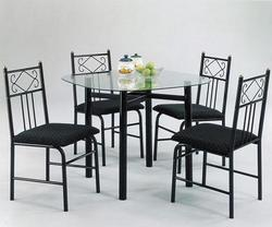 Penelope 5-Piece Dinette with Clear Glass Table Top