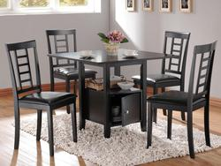 Drew Black 5 Piece Storage Table Dining Set with Lattice Splat Back Chairs