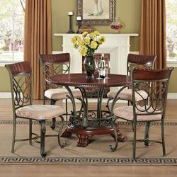 Omari Traditional Five Piece Round Table and Lattice-Backed Side Chair Set