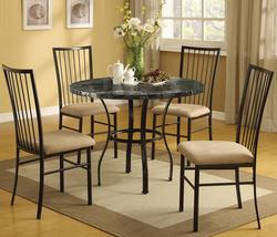 Darell 5-Piece Faux Marble Dining Set with Upholstered Seats