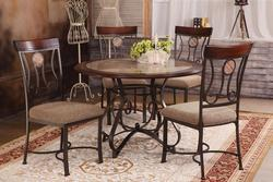 Barrie 5 Piece Round Table & Upholstered Chair Set