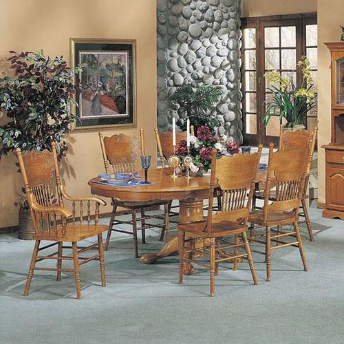Nostalgia 7 Piece Dining Pedestal Table And Press Back Chair Set