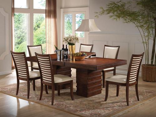 Pacifica Casual 7 Piece Transitional Dining Table And Chair Set