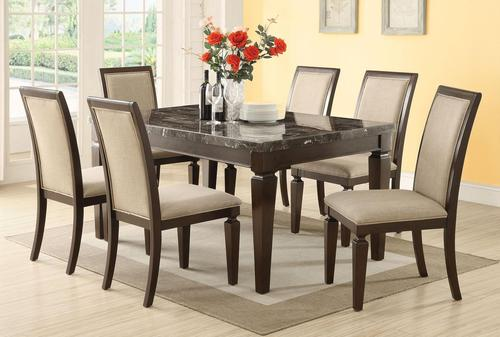 Agatha Seven Piece Marble Top Table And Upholstered Side Chair Dining Set