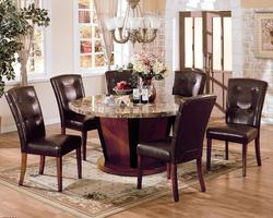 Bologna Seven Piece 60' Round Marble Table and Chairs Set