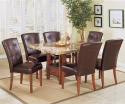 Bologna Seven Piece Square Marble Table and Chairs Dining Set
