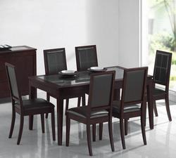 Albury 7-Piece Dining Set w/ Espresso Dining Table W/ Clear Tempered Glass Top & Side Chairs