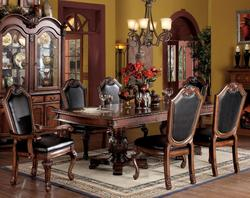 Chateau De Ville 7 Piece Formal Dining Set with Faux Leather Upholstered Chairs