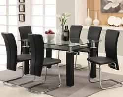Riggan Contemporary Black Leg Table with Black Vinyl Chairs Set