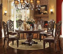 Vendome 7 Piece Round Single Pedestal Table and Chairs Set