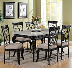 Lorencia Transitional Seven Piece Rectangular Marble Table and Lattice-Backed Side Chair Set
