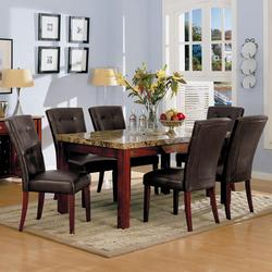 7045 Bologna Marble Top 7 Piece Table Set