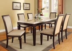 Agatha Seven-Piece Marble Top Table and Upholstered Side Chair Dining Set