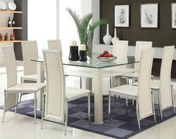 Riggan Contemporary White Leg Table with White Vinyl Chairs Set