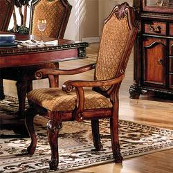 Chateau De Ville Shield Back Dining Arm Chair With Fabric Seat And Back