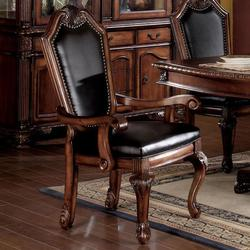 Chateau De Ville Shield Back Dining Arm Chair With Faux Leather Seat And Back