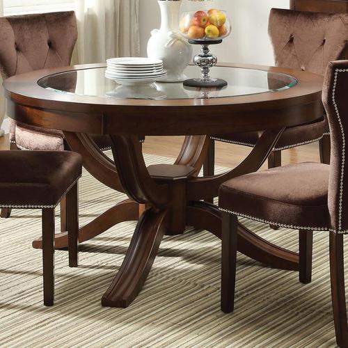 Acme furniture kingston round transitional formal dining table for Fancy round dining table