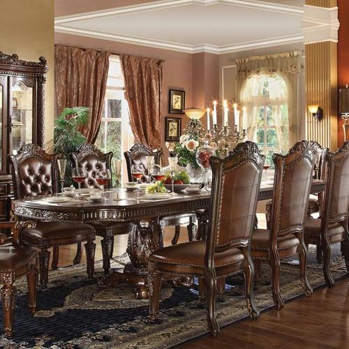 Cleopatra Ornate Traditional Cherry Formal Dining Room: Acme Furniture Vendome Double Pedestal Dining Table