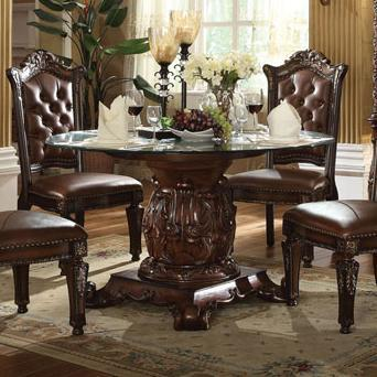 $1,193.10; Vendome Pedestal Dining Table With Tempered Glass Top