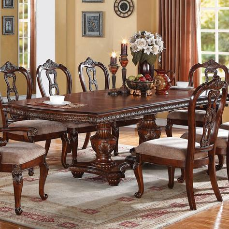 Nathaneal Double Pedestal Dining Table With Egg And Dart Detail