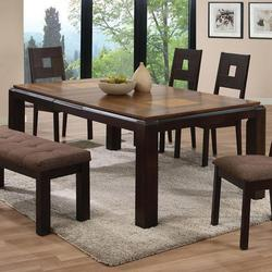 Zenda Dining Table with Squared Legs and Dark Finish