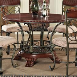 Omari Traditional Round Pedestal Table with Metal Scrollwork