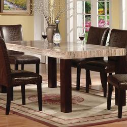 Fraser Rectangular Leg Dining Table with Faux Marble Table Top