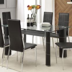 Riggan Contemporary Black Leg Dining Table with Beveled Glass Top and Vinyl Shelf