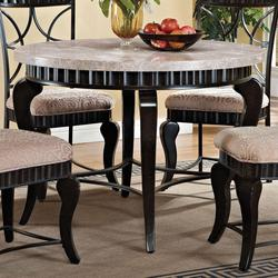 Lorencia Transitional Round Marble Table with Cabriole Legs