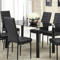 Riggan Contemporary Dining Table with Black Glass Top