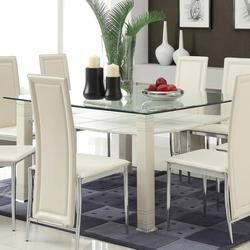 Riggan Contemporary Dining Table with Beveled Glass Top and White Legs