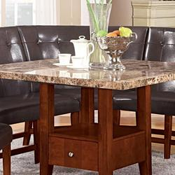 acme furniture bologna seven piece 60 39 round marble table and chairs