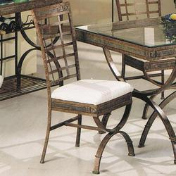Egyptian Upholstered Dining Side Chair with Lattice Back