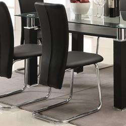 Riggan Black Vinyl Side Chair with Curved Metal Legs