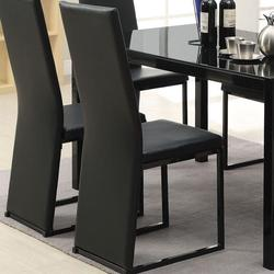 Riggan Black Vinyl Side Chair with Square Dark Metal Legs