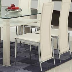 Riggan White Vinyl Side Chair with Tapered Metal Legs