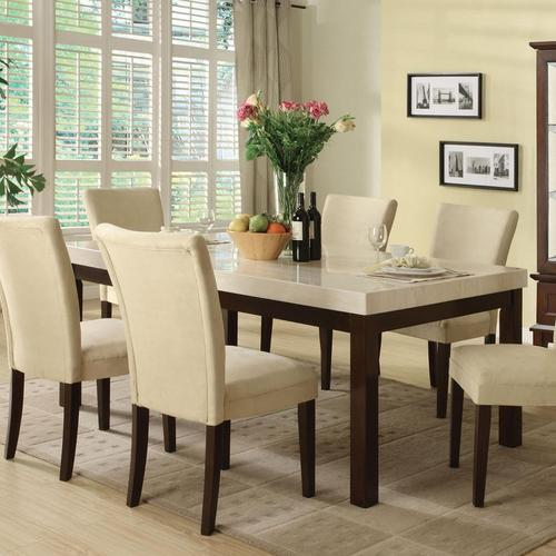 Acme furniture kyle casual dining table w white faux for White casual dining table