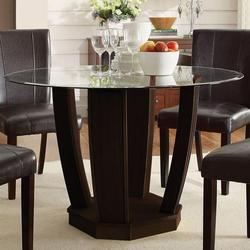 Bethany Dining Table W Round Glass Top