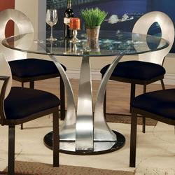 Cady Round Dinner Table W Glass Top